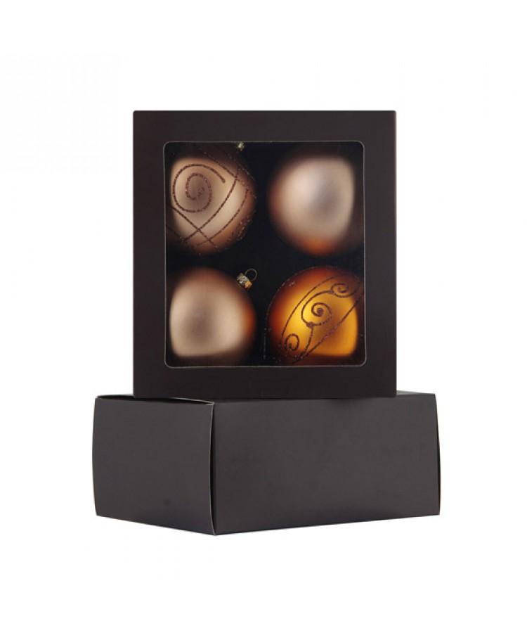 Selection of 8cm Baubles in golden tones-1195