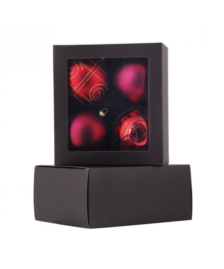Selection of 8cm Baubles in red tones-1187