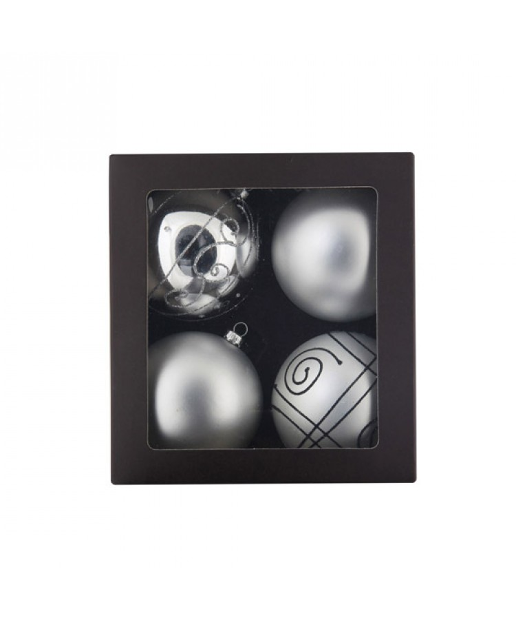 Selection of 8cm Baubles in silver tones-1172