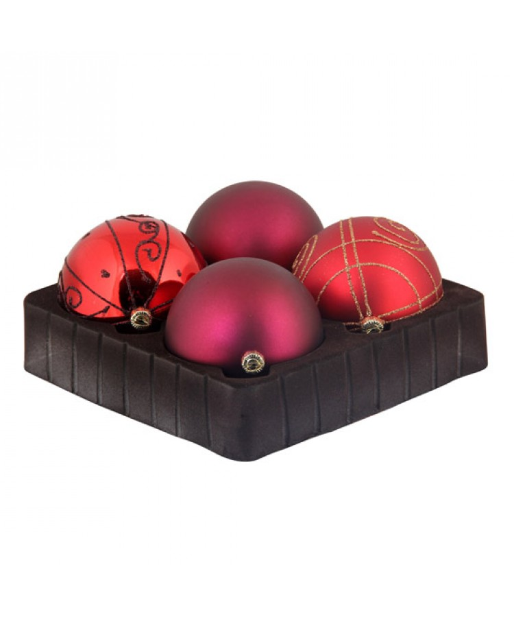 Selection of 8cm Baubles in red tones-0