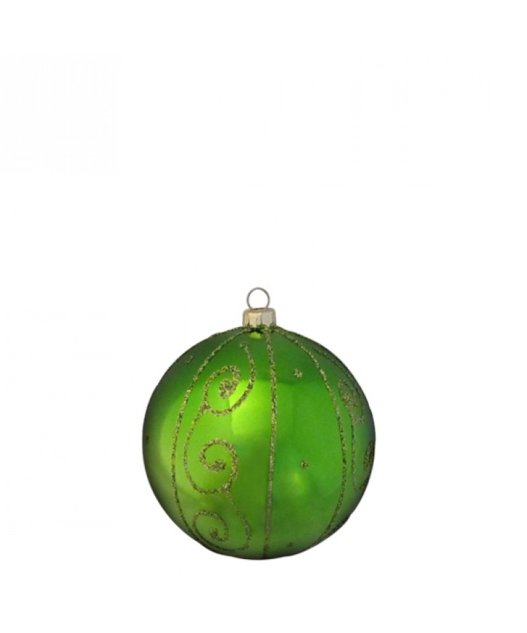 Selection of 8cm Baubles in green tones-1182