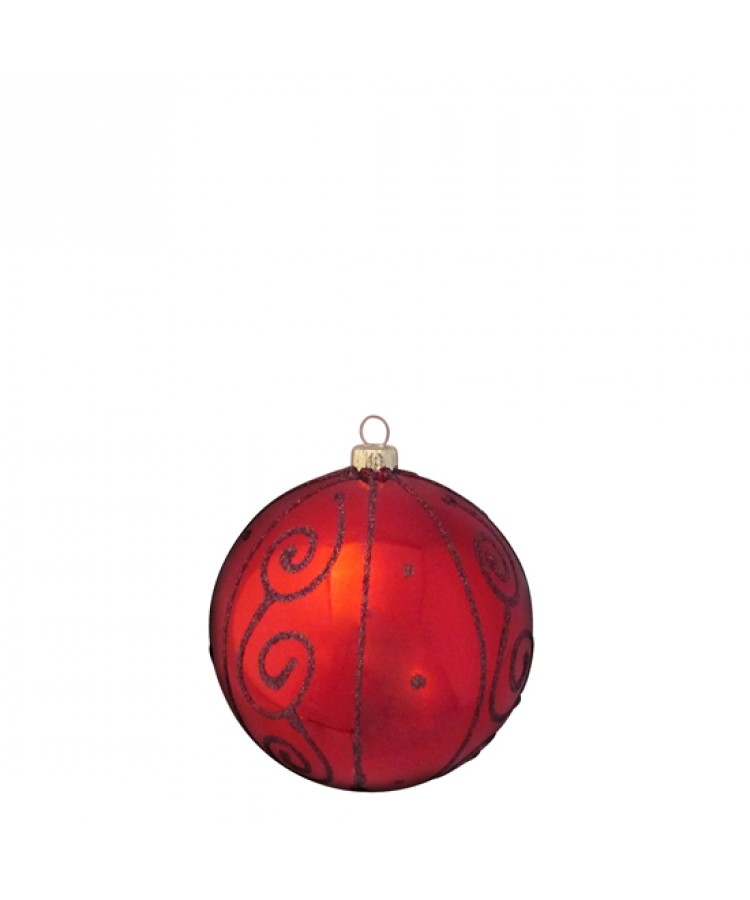 Selection of 8cm Baubles in red tones-1189