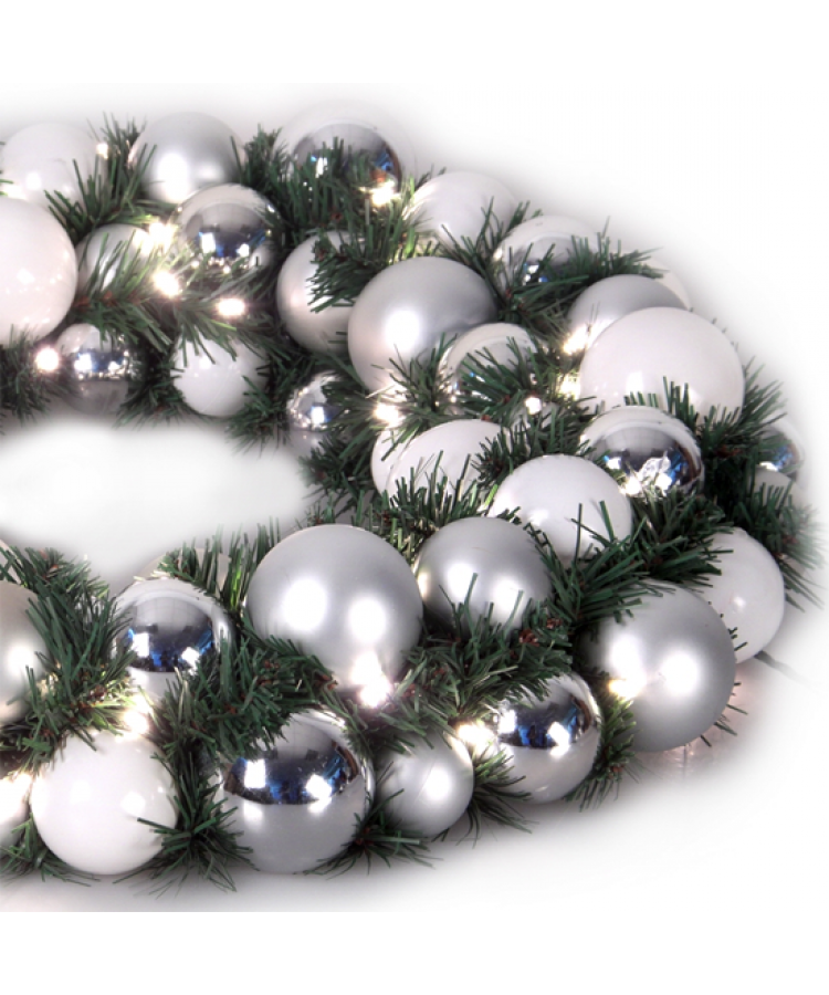 Luxury Wreath Bright Silver 75cm-1270