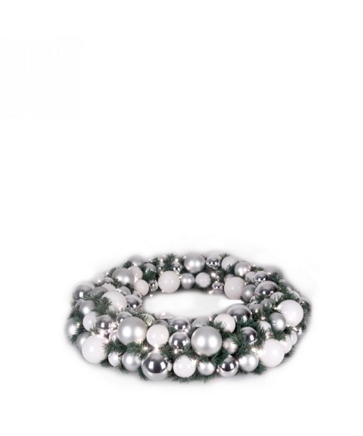 Luxury Wreath Bright Silver 50cm-1268